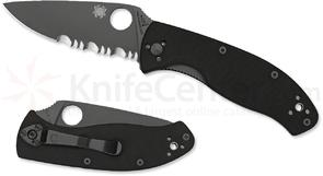Spyderco C122GBBKPS Tenacious Folding Knife 3.38 inch Black Combo Blade, G10 Handles