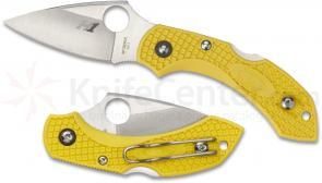 Spyderco C28PYL2 Dragonfly2 Salt Folding Knife 2-1/4 inch H1 Plain Blade, Yellow FRN Handles