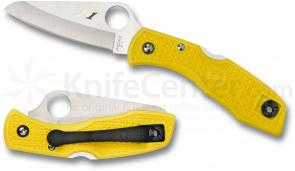 Spyderco C88PYL Salt I Folding Knife 3 inch H1 Plain Blade, Yellow FRN Handles