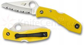 Spyderco C88SYL Salt I Folding Knife 3 inch H1 Serrated Blade, Yellow FRN Handles
