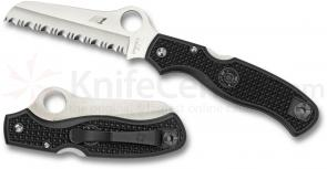 Spyderco C89SBK Atlantic Salt Folding Knife 3-11/16 inch H1 Serrated Rescue Blade, Black FRN Handles