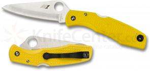 Spyderco C91PYL Pacific Salt Folding Knife 3-13/16 inch H1 Satin Plain Blade, Yellow FRN Handles