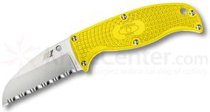 Spyderco FB31SYL Enuff Sheepfoot Fixed 2.75 inch H1 Serrated Blade, Yellow FRN Handles