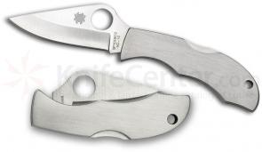 Spyderco LSSP3 LadyBug 3 Key Ring Knife 1-15/16 inch VG10 Plain Blade, Stainless Steel Handles