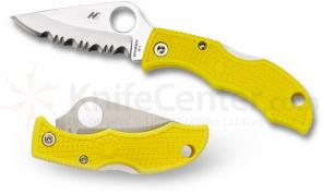 Spyderco LYLS3 Ladybug 3 Key Ring Knife 1-15/16 inch H1 Serrated Blade, Yellow FRN Handles