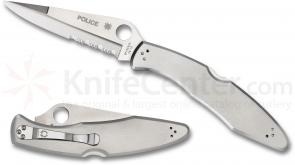 Spyderco C07PS Police Folding Knife 4-1/8 inch VG10 Combo Blade, Stainless Steel Handles