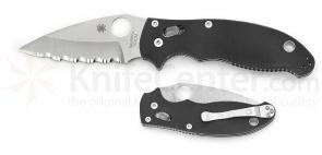 Spyderco C101GS2CM Manix2 Folding Knife 3-3/8 inch Satin Serrated 154CM Blade, G10 Handles