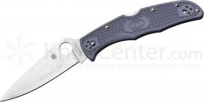 Spyderco C10FPGYE Endura Folding 3-3/4 inch Super Blue Plain Blade, Gray FRN Handles, Sprint Run
