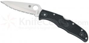 Spyderco C10SBK Endura4 Folding Knife 3.75 inch VG10 Satin Serrated Blade, Black FRN Handles