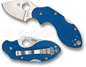 Spyderco C110GPBL Lava Folding Knife 1-7/8 inch VG10 Plain Blade, Blue G10 Handle, Sprint Run
