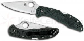 Spyderco C11PGRE Delica 4 Folding Knife 2-7/8 inch ZDP-189 Satin Plain Blade, British Racing Green FRN Handles