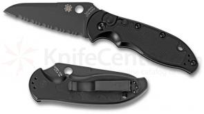 Spyderco Embassy AUTO (All Black) 3-1/8 inch S30V Serrated Blade, Aluminum/G10 Handles