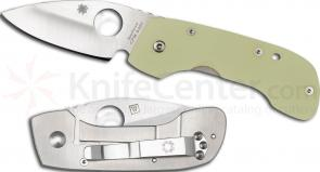 Spyderco C128GP Leaf Storm Folding Knife 2-1/2 inch S30V Plain Blade, Titanium and G10 Handles