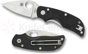Spyderco C129GP Cat Folding Knife 2-7/16 inch Satin Plain Blade, Black G10 Handles