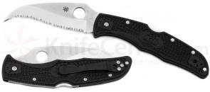 Spyderco C12SBK2 Matriarch2 Folding Knife 3-5/8 inch VG10 Serrated Blade, Black FRN Handles