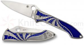 Spyderco C171TIBLP Mike Draper Folder 3.67 inch VG10 Blade, Titanium with Blue Spider Web Design Handle