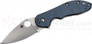 Spyderco C172CFBLTIP Domino Folding Knife 3.13 inch CTS-XHP Blade, Blue Weave Carbon Fiber and Titanium Handles