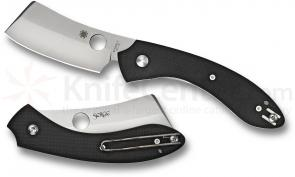 Spyderco C177GP Roc Folding 3.07 inch VG10 Bead Blast Cleaver Style Blade, Black G10 Handle