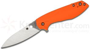 Spyderco C195GPOR Brad Southard Positron Flipper 3.01 inch CPM-S35VN Satin Plain Blade, Polished Orange G10 Handles, KnifeCenter Exclusive