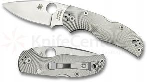 Spyderco C41TIFP Native 5 Folding Knife 3 inch S35VN Satin Plain Blade, Fluted Titanium Handles