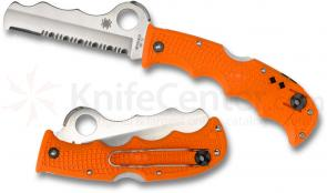 Spyderco C79PSOR Assist Rescue Folding Knife 3-11/16 inch VG10 Combo Blade, Orange FRN Handles, Whistle, Retractable Window Breaker