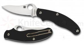Spyderco C94PBK3 UK Penknife 3 inch Plain FFG Drop Point Blade, Black FRN Handles