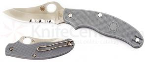 Spyderco UK Penknife 3 inch Combo Drop Point Blade, Gray FRN Handles