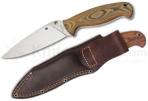 Spyderco FB05P2 Temperance 2 Fixed 4-7/8 inch VG10 Steel Blade, Micarta Handles, Leather Sheath