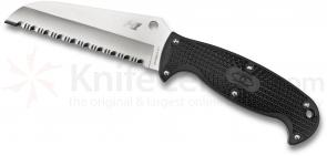 Spyderco FB24SBK Jumpmaster Fixed 4.5 inch H1 Serrated Sheepsfoot Blade, Black FRN Handles