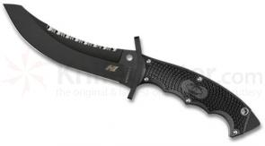 Spyderco FB25PSBBK Warrior Combat Knife 5-11/16 inch H1 Black Plain and Serrated Blade, FRN Handles