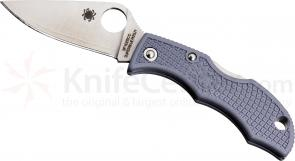 Spyderco LGYP3E Ladybug 3 Key Ring Folding 1-15/16 inch Super Blue Plain Blade, Gray FRN Handles, Sprint Run