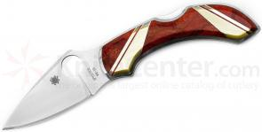 Spyderco Dragonfly Folding Knife 2-5/16 inch VG10 Plain Blade, Jewelry Collection, Red Coral and Mother of Pearl Onlay