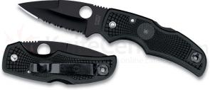 Spyderco Native with 3-1/16 inch S30V Steel Black Combo Edge Blade, Black Handle