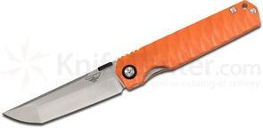 Stedemon Knife Company SHY IV Folding Knife 3.875 inch S35VN Modified Tanto Blade, Orange Concave/Convex G10 Handles
