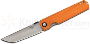 Stedemon Knife Company SHY IV Folding Knife 3.875 inch S35VN Modified Tanto Blade, Orange Water Flow G10 Handles