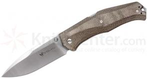 Steel Will Gekko 1500 Folding Knife 3.94 inch N690Co Drop Point Blade, Coyote Micarta Handles