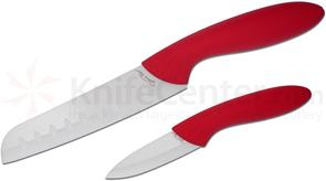 Stone River Gear Two Piece White Ceramic Santoku/Paring Knife Set, Red Handles