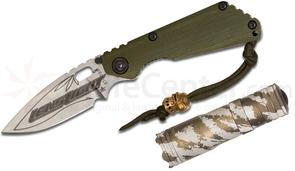 Strider Knives/Starlingear/LensLight Collaboration Box Set SnG Concealed Carry Folding Knife 3.5 inch S30V Stonewashed Blade, Green G10/Stonewash Titanium Handles