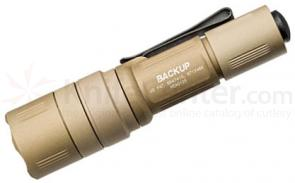 SureFire EB1C-B Backup Dual-Output LED Click Switch Flashlight No Shroud, Desert Tan, 200 Max Lumens