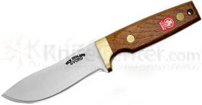 Svord 1990NZ 2 Drop Point Fixed 4-1/2 inch Carbon Steel Blade, Brown Hardwood Handles, Leather Sheath