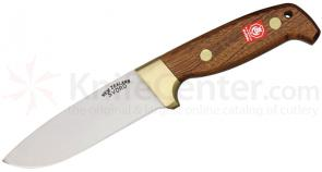 Svord 370BB Deluxe Drop Point Hunter Fixed 4-7/8 inch Carbon Steel Blade, Brown Mahogany Handles, Leather Sheath