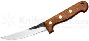 Svord Boning Knife 5-3/8 inch Carbon Steel Blade, Brown Hardwood Handles, Leather Sheath