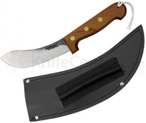 Svord Curved Skinner Fixed 5-3/8 inch Carbon Steel Blade, Brown Hardwood Handles, Leather Sheath