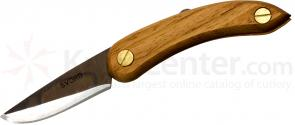 Svord PKM Peasant Mini Folding Knife 2.5 inch Carbon Steel Blade, Brown Wood Handles