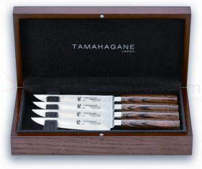 Tamahagane Knives San Series 4 Piece Steak Knife Set, Wood Handles