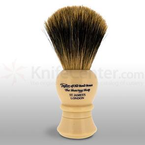 Taylor of Old Bond Street P2235 Pure Badger 11.5 cm Medium Shaving Brush, Faux Ivory Handle