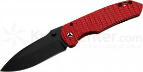 Three Sisters Forge Custom Gorgon Folder 4 inch S35VN Black Spear Point Blade, Red Cerakote Milled Titanium Handles