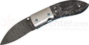 Tim Wilson Custom Liner Lock Folding Knife 3-1/8 inch Damascus Blade, Carbon Fiber Handles with Titanium Bolsters