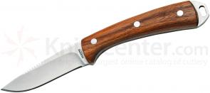 Timberline Kommer Trophy Fixed 3 inch Satin Drop Point Blade, Olive Wood Handles, Leather Sheath