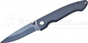 Timberline Lockback Folding Knife 3.25 inch Damascus Pattern Ceramic Blade, Carbon Fiber Handles